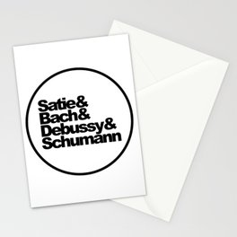 Satie and Bach and Debussy and Schumann, Classical Music Composers, circle Stationery Cards