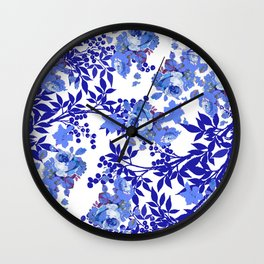 BLUE AND WHITE ROSE LEAF TOILE PATTERN Wall Clock