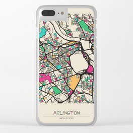 Colorful City Maps: Arlington County, Virginia Clear iPhone Case