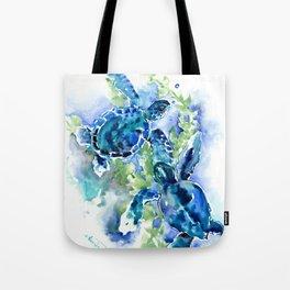 Sea Turtle Turquoise Blue Beach Underwater Scene HAwaii Florida Tote Bag