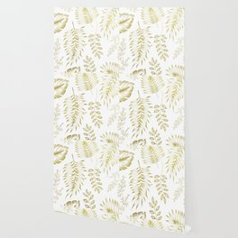 Tropical Leaves - Gold Wallpaper