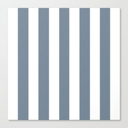 Light slate gray - solid color - white vertical lines pattern Canvas Print