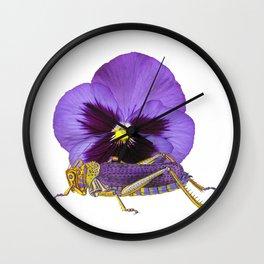 Purple Grasshopper and Viola Wall Clock