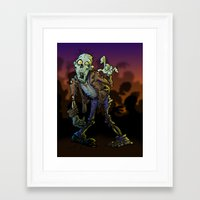 zombie Framed Art Prints featuring ZOMBIE! by Billy Allison