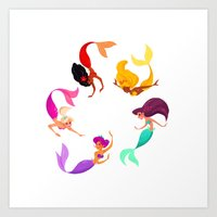 Mermaid raibow! Art Print