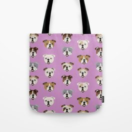 English Bulldog faces cute dog art pet portrait must have gifts for english bulldog owners Tote Bag