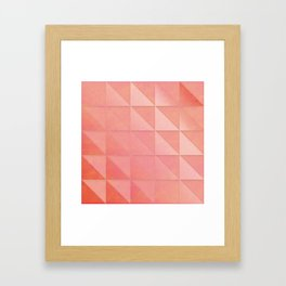 pink coral peach minimal geometric pattern with fading triangle stexture Framed Art Print