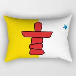 Nunavut territory flag- Authentic version with Inukshuk and blue star Rectangular Pillow