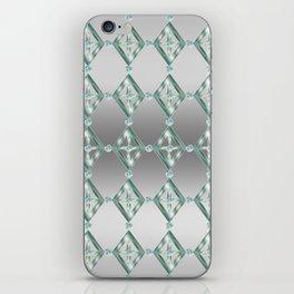 Diamond Grid Teal on Silver Tone iPhone Skin