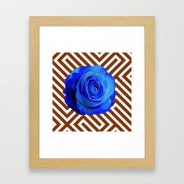 CONTEMPORARY  DECO  BLUE ROSE & BROWN ART Framed Art Print