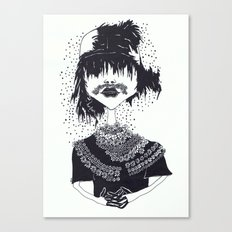 the other girl with the flower moustache Canvas Print