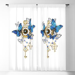 Antique Clock with Butterflies Morpho Blackout Curtain