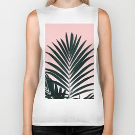 Tropical Green palm tree leaf blush pink gradient photography Biker Tank