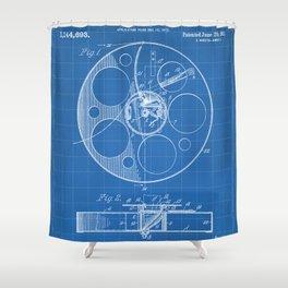 Film Reel Patent - Classic Cinema Art - Blueprint Shower Curtain