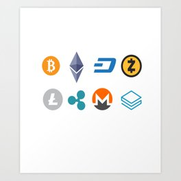 Cryptocurrencies Art Print