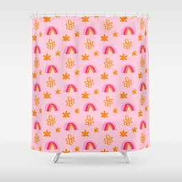 Rainbows and Daisies - Pink and Yellow Palette Shower Curtain