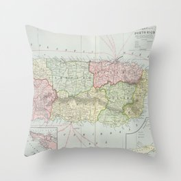 Vintage Map of Puerto Rico (1901) Throw Pillow