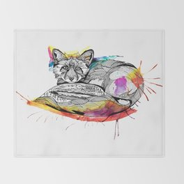 Watercolor Fox  Throw Blanket