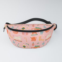 Vintage Christmas in pink Fanny Pack