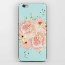 Wild Roses on Succulent Blue Green iPhone Skin