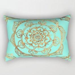 Turquoise & Gold Mandalas Rectangular Pillow