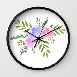 Rose Floral bouquet in watercolor Wall Clock