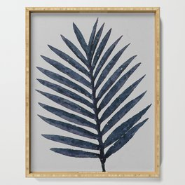 Botanical Navy Indigo Blue Vintage Palm Leaf Watercolor Painting Art Print Wall Decor  Serving Tray