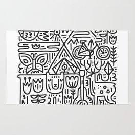 Camping Hand Drawn Illustration Rug