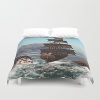 pirate ship Duvet Covers featuring Pirate Ship by Simone Gatterwe