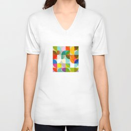 mid century geometry vibrant colors Unisex V-Neck