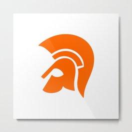 Ancient Spartan Soldier Helmet Red Orange Metal Print