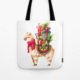 Santa Alpaka Tote Bag