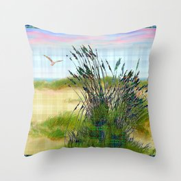 Plaid Beachscape with Seagrass Throw Pillow