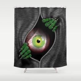 Monster in my sweatshirt Shower Curtain