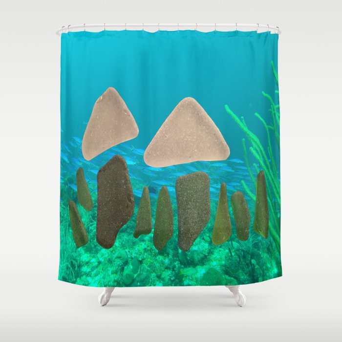 Sea Glass Mushrooms Seaglass Ocean Shower Curtain By Nancysmith