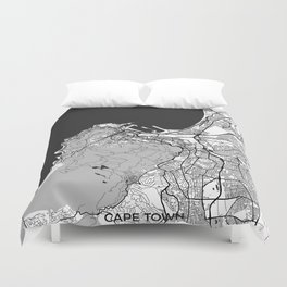 Cape Town Map Gray Duvet Cover