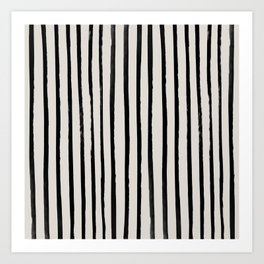 Vertical Black and White Watercolor Stripes Art Print