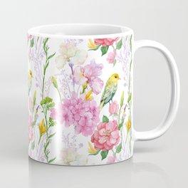 Pink Irises, Hydrangeas, Greenery, Yellow Birds Coffee Mug