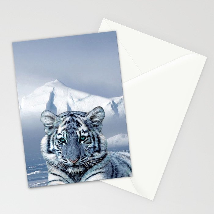 Blue White Tiger Stationery Cards