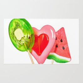 Lollipop in form of heart, watermelon and kiwi Rug