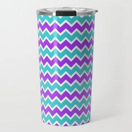 Teal and Purple Chevron Travel Mug
