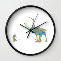 olaf Wall Clocks featuring Olaf and Sven by AHDessins