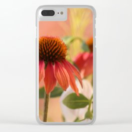 Dramatic cone flowers Clear iPhone Case