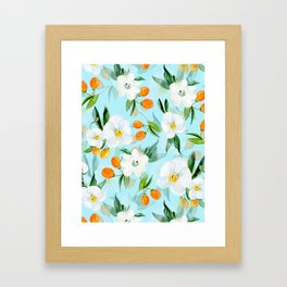mediterranean summer kumquat and orchid branches on turquoise Framed Art Print