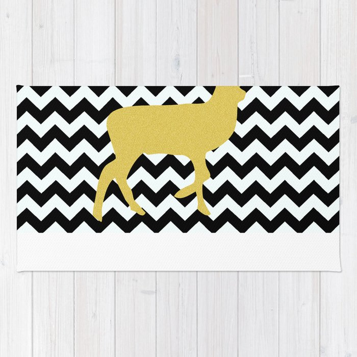 Golden Deer In Black And White Chevron Rug