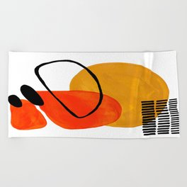 Mid Century Modern Abstract Vintage Pop Art Space Age Pattern Orange Yellow Black Orbit Accent Beach Towel