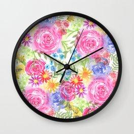 watercolor blooms Wall Clock