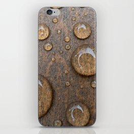 Water Drops on Wood 4 iPhone Skin