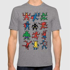 Keith Superheroes LARGE Tri-Grey Mens Fitted Tee