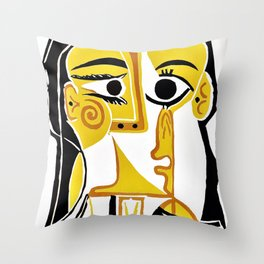 Pablo Picasso - Stylized Portrait of Jacqueline - Digital Remastered Edition Throw Pillow